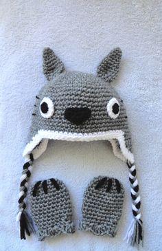 Totoro inspired baby hat & mittens set by scotako on Etsy, $27.00
