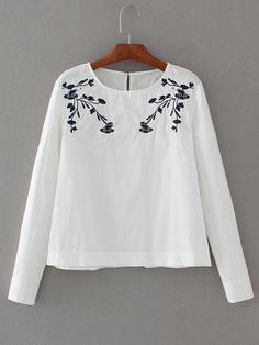 Buy Embroidery Keyhole Back Blouse from abaday.com, FREE shipping Worldwide - Fashion Clothing, Latest Street Fashion At Abaday.com