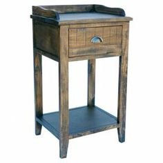 """Wood side table, featuring 1 drawer and a gray finish.  Dimensions: 32"""" H x 18"""" W x 15"""" D"""