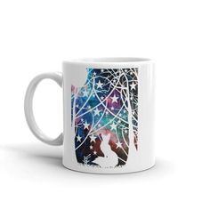 This listing is for an mug with a print of my original fox under the night sky papercut.  Magic and mystery make fantastic art pieces and this brings my love of galaxy art into my love of nature to create a truly unique one of a kind design.  - Ceramic - Dishwasher safe - Microwave safe - Available in 11 oz and 15 oz sizes - White, glossy  This sturdy white, glossy ceramic mug is an essential to your cupboard. Looking for the perfect amount of your hot beverage without refills? Search no…