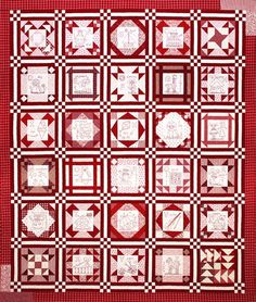 Gorgeous red sampler quilt.