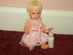 Vintage 1966 Baby Cheerful Tearful Doll Mattel w/ Bottle #DollswithClothingAccessories