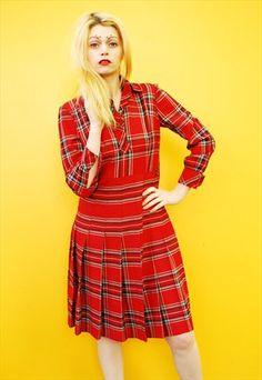 70s vintage check dress