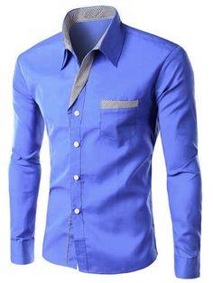 Stylish Stripe Spliced Turn-Down Collar Long Sleeve Shirt For Men - Blue