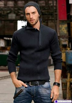 Date Night: Dark wash jeans with light / colored sweater that zips / buttons to the side. Belt as an accessory with sunglasses