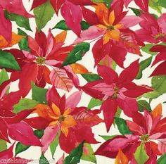 Caspari 2 / 8 ft Rolls Poinsettia Painting Christmas Gift Wrap / Wrapping Paper