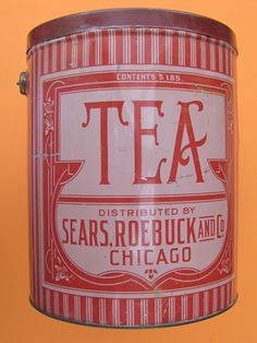 Sears & Roebuck Tea, circa my collection Vintage Tea Rooms, Vintage Tins, Vintage Coffee, Red And White Kitchen, Spice Tins, Beer Cans, Vintage Packaging, Tin Containers, Tea Tins