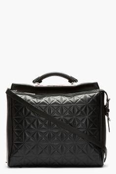3.1 Phillip Lim Black Leather Grid Ryder Satchel
