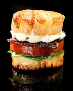 Scallop BLT  Scallop BLT   (makes 4)   4 sea scallops   Salt and pepper   Wondra flour   1 head bok choi   1 small heirloom tomato   2 slices of bacon   Honey Mustard Glaze (recipe @ link)   Herb Mayonnaise (recipe @ link)