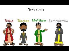 Jesus called them one by one Peter, Andrew, James and John Next came Phillip, Thomas too Matthew and Bartholomew James the one they called the less Simon als. Bible Story Crafts, Bible Stories, Phillip Thomas, Bible Songs For Kids, Why Jesus, Churches Of Christ, Kids Church, Bible Lessons, Preschool Crafts