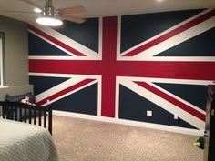 Union Jack painted wall-SW Gailforce, SW Current and SW Eider White.