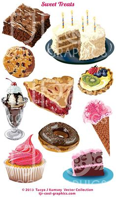 Sweet Treats  Vector Clip Art by CleverVectors on Etsy, $3.95