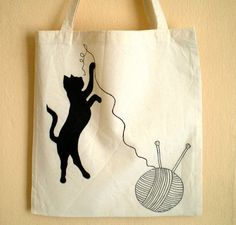 Playful Black Cat Hand Painted Tote Bag by ShebboDesign on Etsy