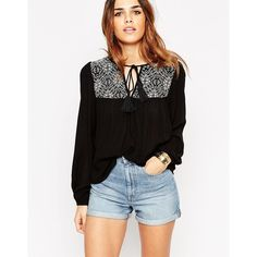 ASOS Embroidered Folk Top (320 CNY) ❤ liked on Polyvore featuring tops, black, black keyhole top, black embroidered top, embroidery tops, black top and woven top