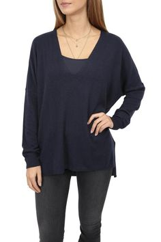 V-neckline Navy Blue Sweater - Jessimara Navy Blue Sweater, Blue Sweaters, Sweater Weather, Knitwear, Neckline, Tunic Tops, Clothing, Collection, Women