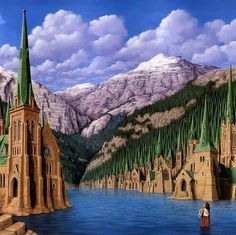 Rob Gonsalves is a Canadian painter who is famous with optical illusion paintings.Check out 10 Most Fantastic Optical Illusion Paintings By Rob Gonsalves Illusion Kunst, Illusion Art, Optical Illusion Paintings, Optical Illusions, Illusions Mind, Art Optical, Rene Magritte, Canadian Painters, Canadian Artists