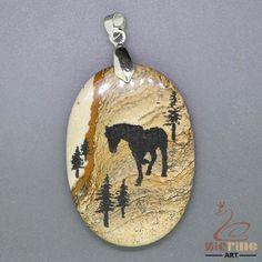 STONE  NECKLACE ENGRAVED HORSE NATURAL PICTURE JASPER PENDANT BEAD ZL0001944 #ZL #Pendant