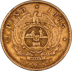 1895 South Africa Half Pond Gold... #14KGold Gold And Silver Coins, Silver Bars, Gold Money, World Coins, African Animals, Rare Coins, African History, Coin Collecting, South Africa