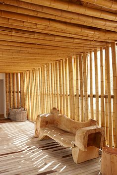The ceiling bamboos could be likened to logs in log cabins - would their sustainability be preserved if on the outside it's modern concrete architecture, no bamboos but well built(insulated, sealed, etc)