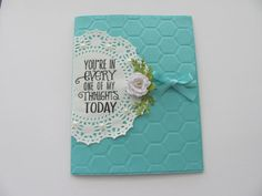 Thinking of You Card Roses Embossed Card Teal by SassyScrapsCrafts, $3.95