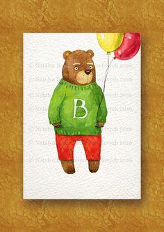 Nursery printable file, Bear watercolor painting, Nursery animal print, Nursery wall art, Teddy bear, Watercolor animal, Digital Download by NatalyaCraftsAndArts on Etsy