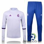Le Survetement de foot Real Madrid Collar Blanc + Pantalon Bleu 2016