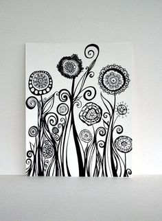 pen ink floral - Google Search