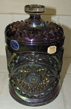 Imperial Carnival Glass Peacock Blue Biscuit Jar original stickers