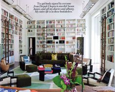 Diane Von Furstenburg's modern approach to the in-home library with much coveted library ladder...