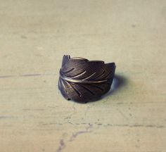 Antique Brass Leaf Ring by tresjoli on Etsy, $5.00