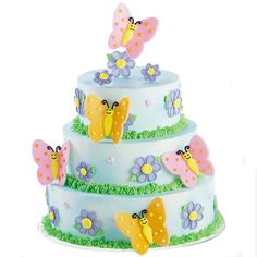 Just the cake for spring celebrations or a girl?s birthday party, delicate fondant butterflies flutter around lovely blooms. Decorate your stacked cake with a myriad of butterflies using the butterfly cutter from the Animal Pals Cutter Set. Kids Butterfly Cake, Fondant Butterfly, Butterfly Party, Wilton Cakes, Fondant Cakes, Cupcake Cakes, Cupcakes, Cake Truffles, Wilton Cake Decorating