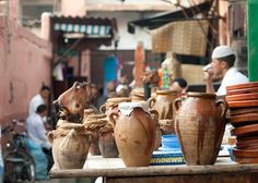 A tanjia shop, also serving roasted sheep head, a typical food in Morocco.