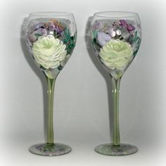 hand painted wine glasses with fantasy by PaintedDesignsByLona,