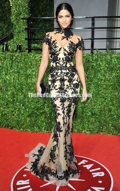Camila Alves Black Lace High Neck Mermaid Celebrity Gown Oscar Party 2011 Red Carpet Dresses