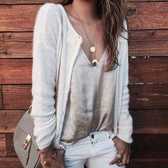 neutral white blush outfit idea