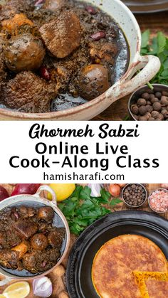 In this intractive Live online class you will learn how to master Ghormeh Sabzi - Persian Lamb Stew with Herbs. There are many tips and tricks to this dish, that we will go in depth with to turn you into Ghormeh Sabzi experts. Of course we will also cook some aromatic Persian rice to go with our Ghormeh Sabzi. Visit hamisharafi.com/book to find out when the next class is coming up. Persian Rice, Online Cooking Classes, Lamb Stew, Pot Roast, Herbs, Dishes, Live, Book, Ethnic Recipes