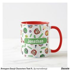 Shop Avengers Emoji Characters Text Pattern Mug created by marvelemoji. Personalize it with photos & text or purchase as is! Emoji Characters, Emoji Design, Breakfast Tea, Big Design, Marvel, Favorite Color, Dinnerware, Avengers, Ceramics