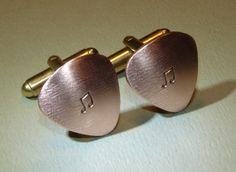 Guitar pick copper cuff links