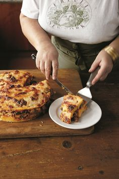 Lidia Bastianich's Baked Polenta Layered with Mushroom Ragú Recipe
