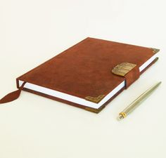 Leather large notebook for men or women, unique birthday, anniversary, idea. Elegant minimalist cow leather, in front with antique bronze clasp closed by a magnet and with bronze corners. Leather Art, Leather Gifts, Leather Books, Custom Leather, Cow Leather, Leather Tooling, Handmade Leather, Leather Jewelry, Handmade Notebook