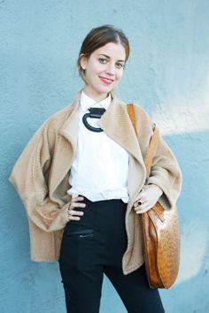 Street Style: Echo Park Craft Fair #refinery29 http://www.refinery29.com/echo-park-craft-fair#slide-11 Name: Sophie Buhai Job: Designer, Vena CavaWhat She's Wearing: Vintage Zoran coat, her mom's blouse, Bandalier necklace, Vena Cava pants, Robert Clergerie shoes, Vintage bag....