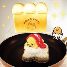 Gudetama. On toast. With bacon blanket.  #crochet #amigurumi #sanrio #gudetama #lazyegg #bread #toast #baconandeggs