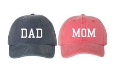Mom & Dad Unstructured Dad Hat Cap, Pigment Dyed Unstructured Baseball Cap, Baby Announcement, Mom And Dad To Be, Choose Your Hat Color Crochets – Crochet models Stocking Stuffers For Baby, Baby Stocking, Mom Dad Baby, Mom And Dad, Mom Hats, Baby Hats, Baseball Baby Announcement, Baby Knitting, Crochet Baby