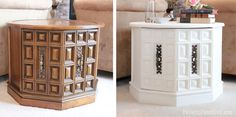 The 36th AVENUE | 10 Amazing Furniture Makeover My parents have these end tables in their basement!!