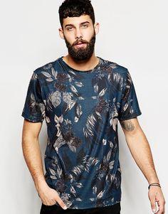 Imagen 1 de Camiseta con cuello redondo y estampado floral de River Island