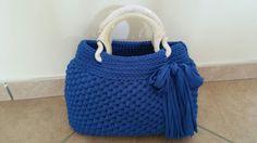 "Borsa ""Zaffiro"" /borsa fettuccia/borsa uncinetto/crochet bag/bolsom/"