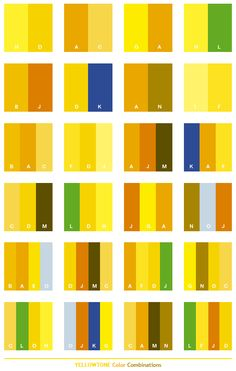 Yellow tone color schemes, color combinations, color palettes for print (CMYK) and Web (RGB + HTML)