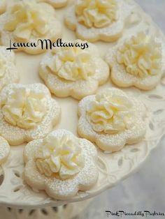 Frilly Lemon Meltaway Cookies ~ ~ ~ What could be more lovely than Frilly Lemon Cookies at a Tea Party? I adore Lemon Meltaway Cookies and have been making them for Tea Parties Lemon Desserts, Lemon Recipes, Cookie Desserts, Just Desserts, Baking Recipes, Cookie Recipes, Delicious Desserts, Dessert Recipes, Yummy Food