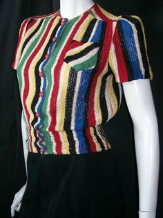 1940s multi-coloured striped top blouse color block red blue yellow black terrycloth rayon war era