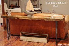 beach wood-iron rustic table-diy